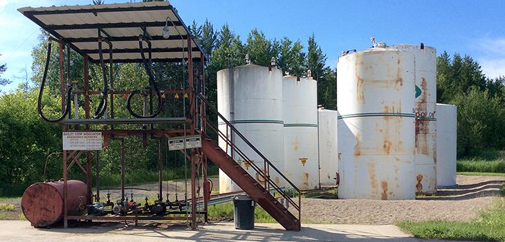 Fuel tanks outside Bagley Co-Op