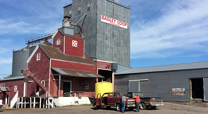 Outside of Bagley Co-op Grain Bin - Close Up